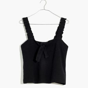 madewell texture and thread black tie front tank